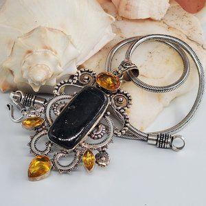 Natural Agate Citrine Silver Pendant Necklace